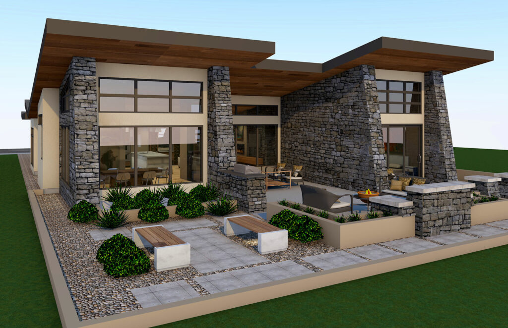 a 3D rendering of a Kelowna home by Apchin Design Corp.